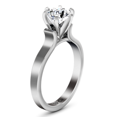 Solitaire Engagement Ring Curved Shoulder 14K White Gold