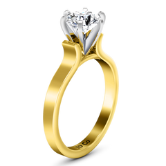 Solitaire Engagement Ring Curved Shoulder 14K Yellow Gold