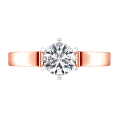 Solitaire Engagement Ring Modern 14K Rose Gold