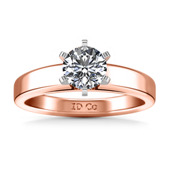 Solitaire Engagement Ring 6 Prong Contemporary 14K Rose Gold