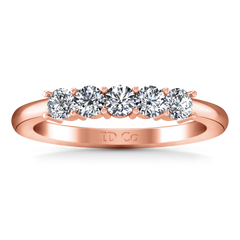 Five Stone Diamond Wedding Band Aspen  0.15 Cts 14K Rose Gold