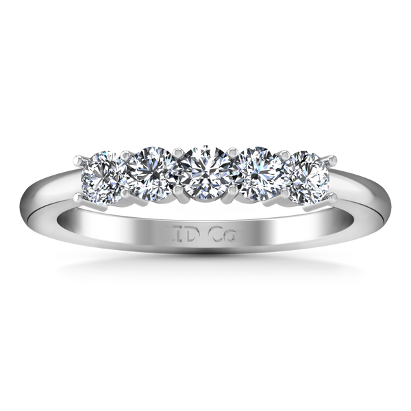 Five Stone Diamond Wedding Band Aspen  0.15 Cts 14K White Gold