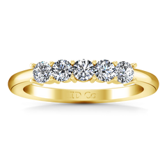 Five Stone Diamond Wedding Band Aspen  0.15 Cts 14K Yellow Gold
