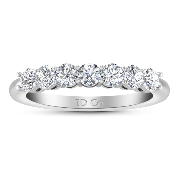 Seven Stone  Diamond Wedding Band Coventry 0.35 Cts 14K White Gold
