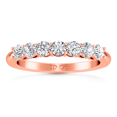 Seven Stone Diamond Wedding Band Siena   0.49 Cts 14K Rose Gold