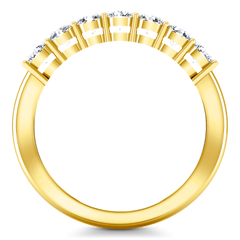 Seven Stone Diamond Wedding Band Siena   0.49 Cts 14K Yellow Gold