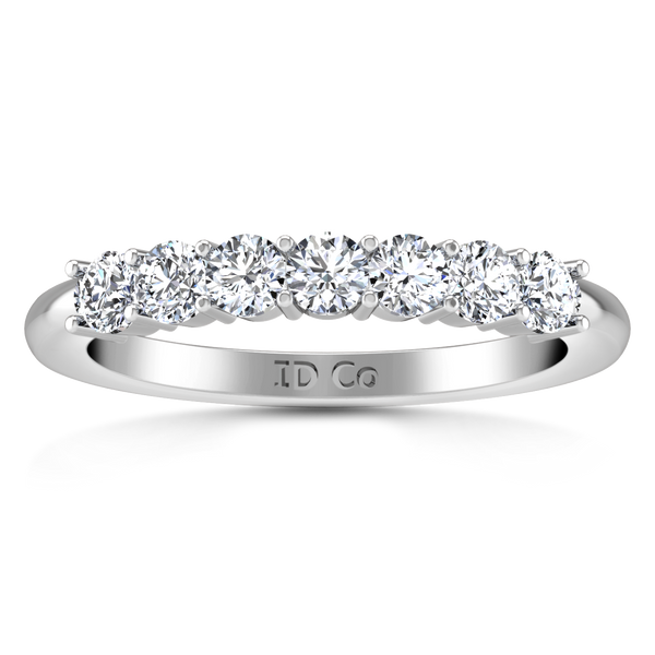 Seven Stone Diamond Wedding Band Camden 0.21 Cts 14K White Gold