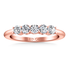 Five Stone Diamond Wedding Band Brighton  0.5 Cts 14K Rose Gold