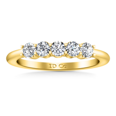 Five Stone Diamond Wedding Band Brighton  0.5 Cts 14K Yellow Gold
