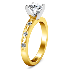 Pave Engagement Ring Jazz 14K Yellow Gold