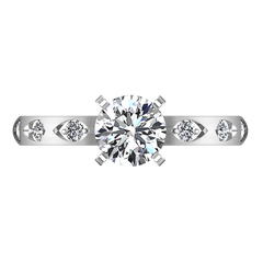 Pave Engagement Ring Jazz 14K White Gold
