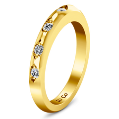 Diamond Wedding Band Jazz 0.12 Cts 14K Yellow Gold