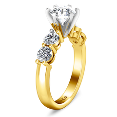 Pave Engagement Ring Journey 14K Yellow Gold