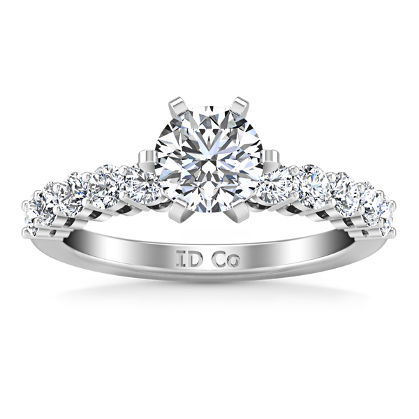 Pave Engagement Ring Fleur 14K White Gold
