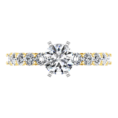 Pave Engagement Ring Fleur 14K Yellow Gold