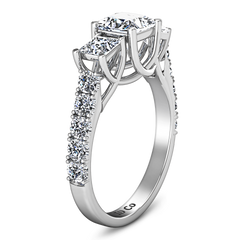 Three Stone Engagement Ring Enchantment Lattice  14K White Gold
