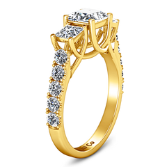 Three Stone Engagement Ring Enchantment Lattice  14K Yellow Gold