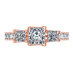 Three Stone Engagement Ring Enchantment Lattice  14K Rose Gold