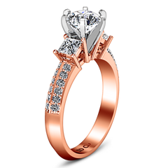 Three Stone Engagement Ring Ivana 14K Rose Gold