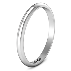Wedding Band Comfort Fit 2Mm 14K White Gold