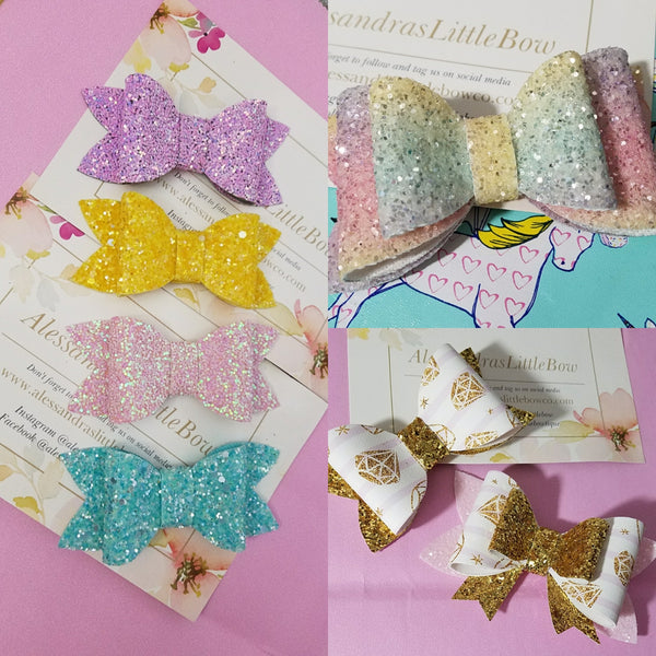 Chunky bows and double glitter bows