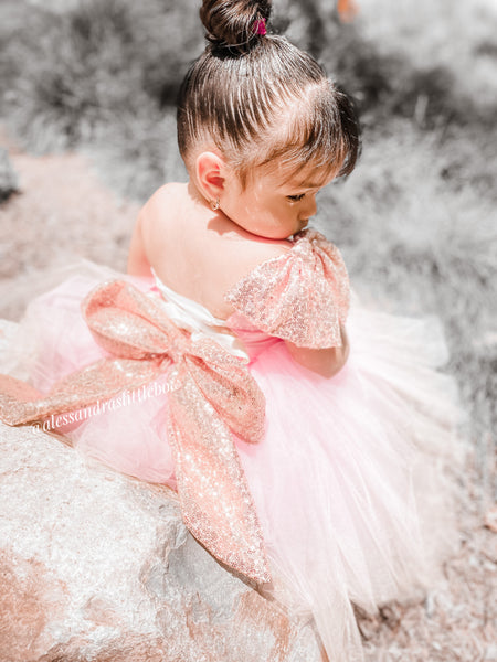Brielle Couture Dress in Rose Gold and Pink