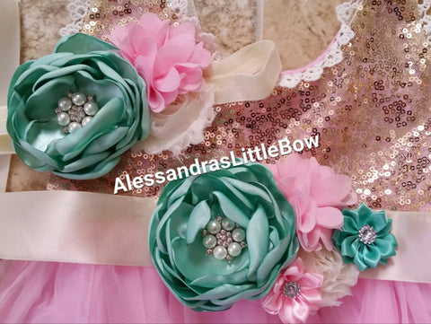 Mint and pink flower sash and headband set - AlessandrasLittleBow - sash and headband set - Alessandras Little Bow -  -  -