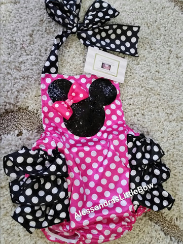 Hot pink polka dots and black Mouse Glitter Romper - AlessandrasLittleBow