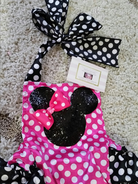 Minnie Mouse Glitter Romper - ready to ship - AlessandrasLittleBow - Romper - Alessandras Little Bow -  -  -  - 2