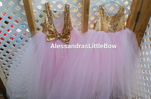 The Princess dress in pink and gold full lenght - AlessandrasLittleBow