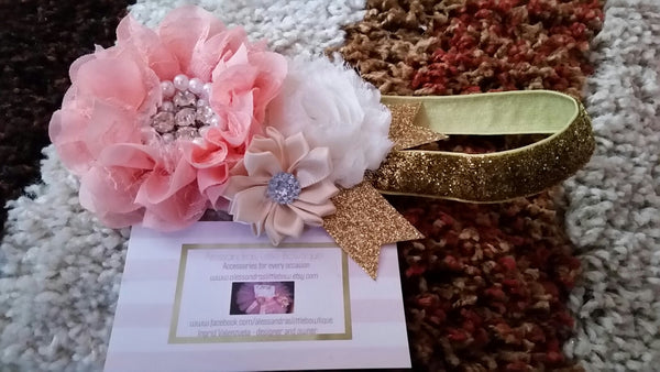 peach and gold headband - AlessandrasLittleBow - Headband - Alessandras Little Bow -  -  -  - 2