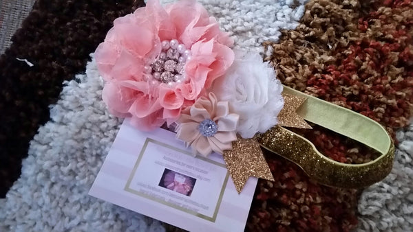 peach and gold headband - AlessandrasLittleBow - Headband - Alessandras Little Bow -  -  -  - 1