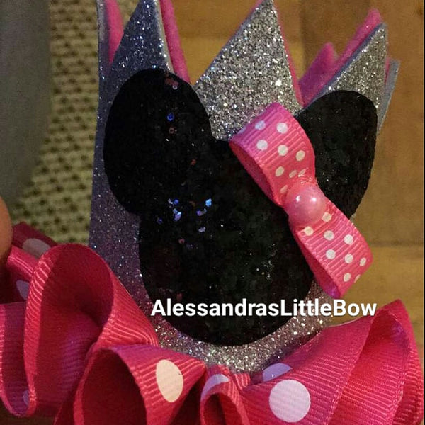 Small pink and silver Minnie mouse crown - AlessandrasLittleBow