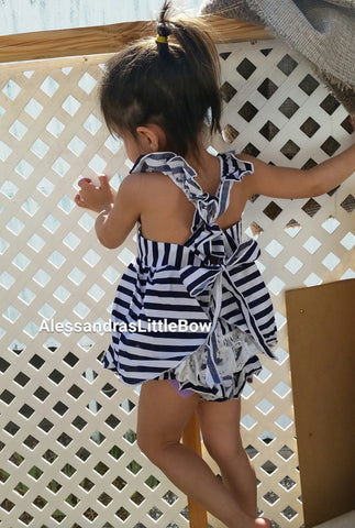 White and blue stripes ruffle 2 piece swing set - AlessandrasLittleBow