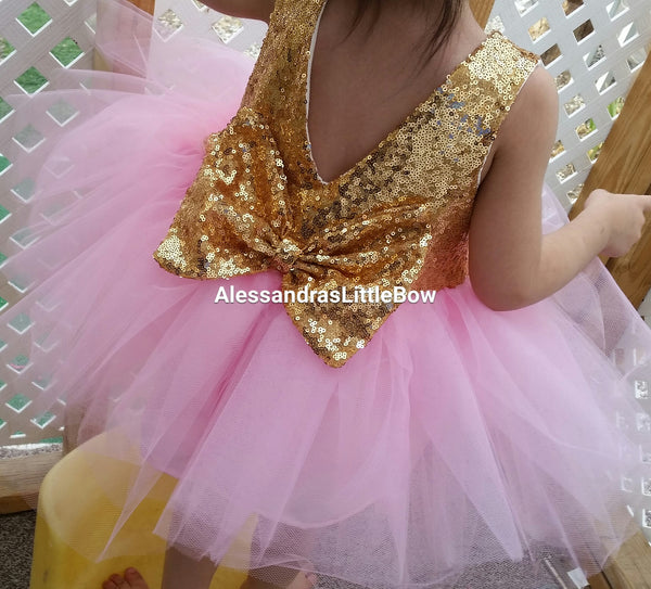 The Princess dress in pink and gold knee lenght - AlessandrasLittleBow - Sequin dress - children's boutique  -  -  -  - 1