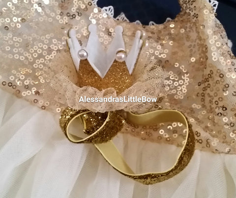 gold glitter mini birthday crown - AlessandrasLittleBow - crowns - Alessandras Little Bow -  -  -  - 1