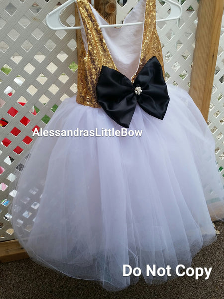 The Princess dress iN gold and white - AlessandrasLittleBow - Sequin dress - Alessandras Little Bow -  -  -  - 1