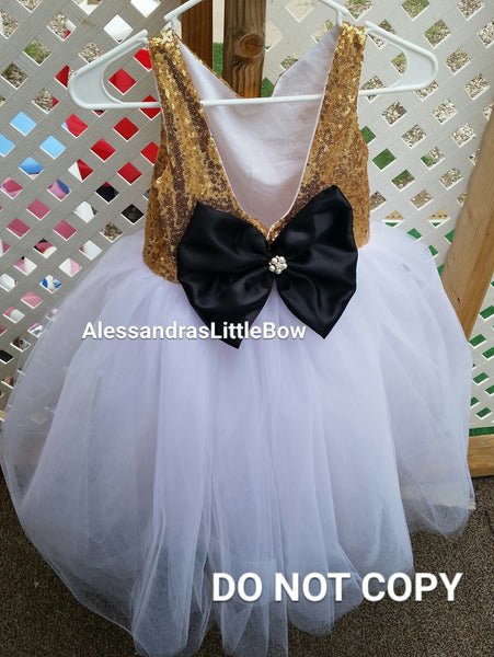 The Princess dress iN gold and white - AlessandrasLittleBow - Sequin dress - Alessandras Little Bow -  -  -  - 3