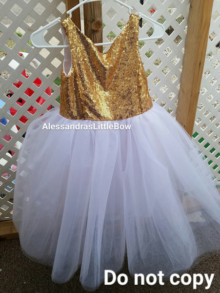 The Princess dress iN gold and white - AlessandrasLittleBow - Sequin dress - Alessandras Little Bow -  -  -  - 4