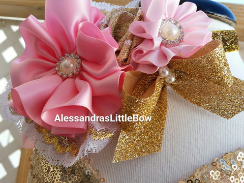 Pink and gold headband - AlessandrasLittleBow