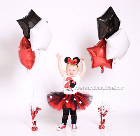 Red and black minnie mouse birthday tutu - AlessandrasLittleBow - Tutus - Alessandras Little Bow -  -  -  - 2