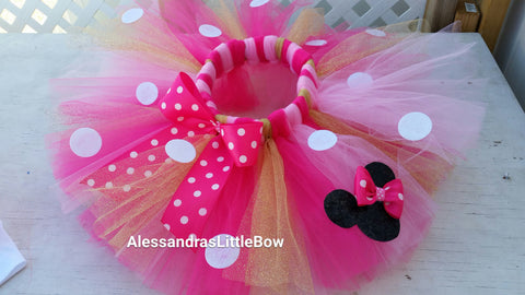 Hot pink, pink and gold Minnie mouse birthday tutu - AlessandrasLittleBow