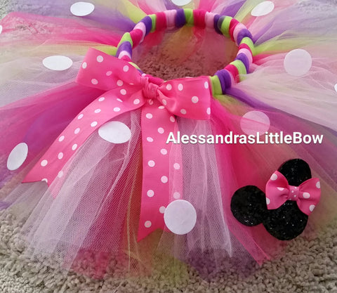 minnie mouse birthday tutu with glitter minnie mouse - AlessandrasLittleBow - Tutus - Alessandras Little Bow -  -  -  - 1