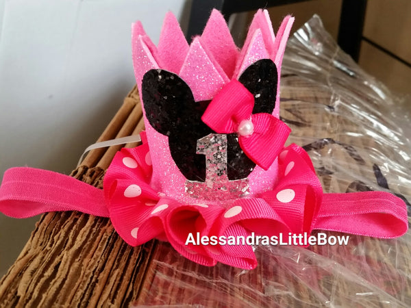 Small pink minnie mouse polka dots  crown with number - AlessandrasLittleBow