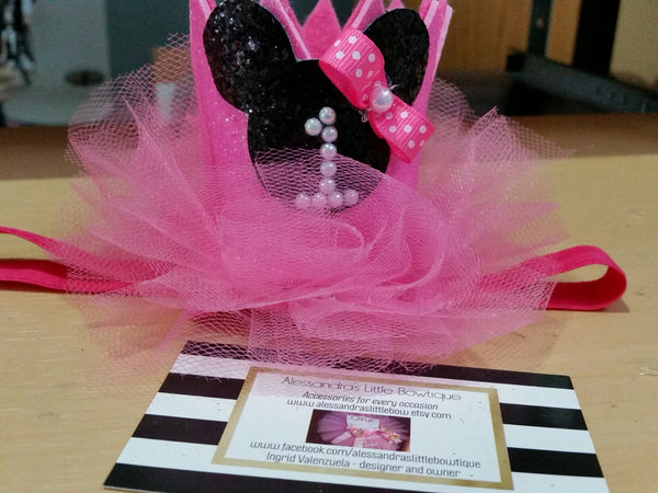 Small pink minnie mouse birthday  crown with number - AlessandrasLittleBow