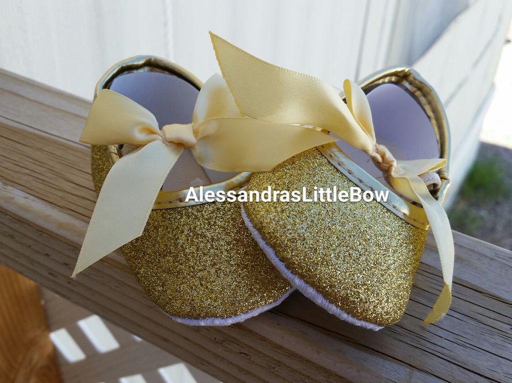 gold glitter baby shoes - AlessandrasLittleBow