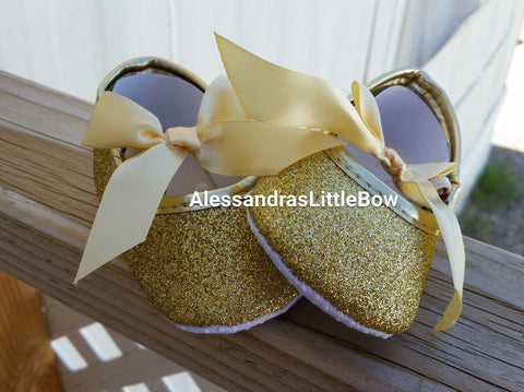 gold glitter baby shoes - AlessandrasLittleBow - Shoes - Alessandras Little Bow -  -  -