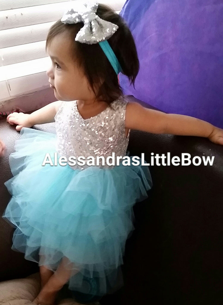 blue and silver sequin dress - AlessandrasLittleBow - Sequin dress - Alessandras Little Bow -  -  -  - 1