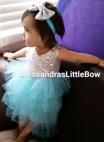 Allyson blue and silver sequin dress - AlessandrasLittleBow