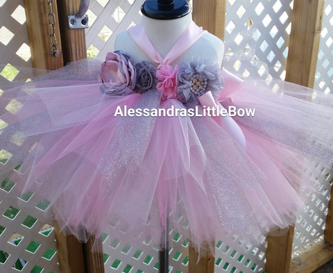 Silver and pink tutu dress - AlessandrasLittleBow - tutu dress - Alessandras Little Bow -  -  -  - 1